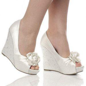Dolgu Topuk Gelin Ayakkabısı