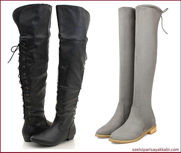 Kısa Topuklu Bayan Çizmeler