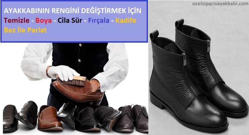 Kahverengi Ayakkabıyı Siyaha Boyala İşlemi